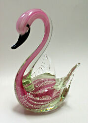 Vintage Italian Murano Art Glassclear Pink Swan Size--9x6.5x6 Inches