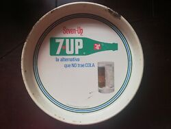 Vintage Mexican 7up Seven Up Lemon Soda Tin Metal Tray From 70's
