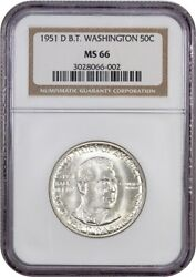 1951-d Btw 50c Ngc Ms66 - Low Mintage Issue - Silver Classic Commemorative