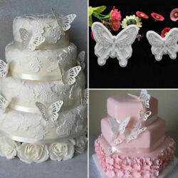 2x/set Butterfly Cake Fondant Sugarcraft Mould Cookie Plunger Cutter Mold Tom Wy