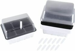 12 Sets Seed Starter Tray 72 Holes Plant Germination Kit Dome Watertight Base