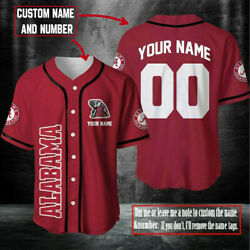 Personalized Alabama Crimson Tide Custom Name And Number Aop Baseball Jersey S-5xl