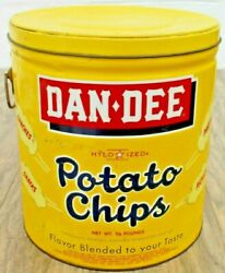 Vintage 1961 Dan Dee Potato Chip Tin Can Cleveland Oh