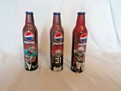 Collectable Lot Of 3 Aluminum Pepsi Believe In Now Theme Bottles American League