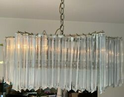Vintage Italian Murano Chandelier 4 Sided Prisms 3 Tiers 129 Pieces