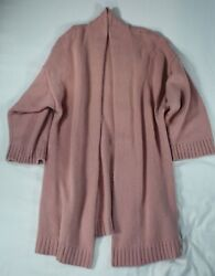 Sablyn - 1280 Rose Cashmere Multi-ply Open-front Sweater Coat Rare Color