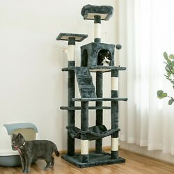 63.8 in Cat Tree amp; Condo Stable Cat Tower Cat Condo Pet Play House Smoky Gray
