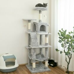 63.8 in Cat Tree amp; Condo Stable Cat Tower Cat Condo Pet Play House Light Gray