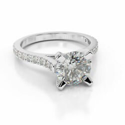 2 Ct Diamond Engagement Ring Round Cut F/si1 14k White Gold Size Selectable