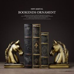 Bookends Resin Horse Craft Vintage Study Room Desk Decor Ornaments Gift Brass
