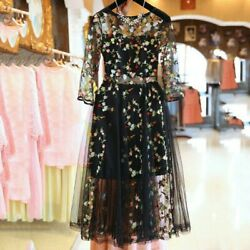 Mesh Embroidery Floral Sexy Dresses Women Elegant Casual Evening Party Dress US $23.26