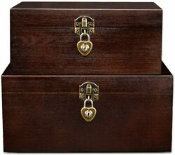 Wood Storage Box With Lock, Keys Decorative Wooden Stash Case With Hinged Lid