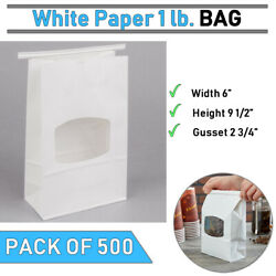 | White Paper Bag | Pack Of 500 | 6 X 2 3/4 X 9 1/2 | 1 Lb. | Free Shipping |