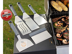 Stainless Steel Bbq Tool Set 5-piece Griddle And Grill Spatulas Scraper Turner