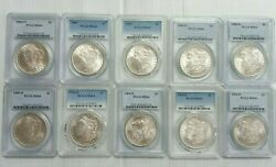 Lot Of 10 Morgan Silver Dollar 4 Mixed Date / Po Ms64 Pcgs White Coin L004