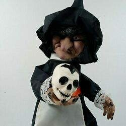 Vintage Halloween Animated Witch Holding Skull Motionette Prop Scary Decor