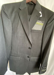 Jos A Bank 2pc Suit Charcoal With Thin Purple Lines Sz 36