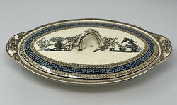 Spode Copeland Transferware Oval Covered Vegetable Bowl With Lid 1850s Greek Key