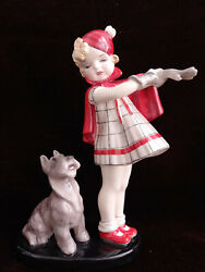 Goldscheider Figurine Come With Me Girl And Dog