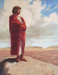 Native American Girl In Red Oklahoma Oil Painting Margaret Aycock Sale 11x14