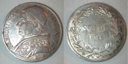 Beautiful 1846 Large Silver Coin Italian Papal State Scudo Pope Gregory Xvi