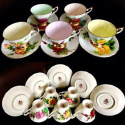 """Set Of 5 Vintage 1950s Paragon """"famous Roses"""" Bone China Cups And Saucers"""