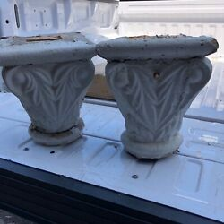"""Pretty C1850 Vintage Hand Carved Wooden Porch Capitals 13"""" H 10.5"""" Sq X 6.5"""" Dia"""