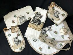 Vintage Lot Cat Kitten Deadstock Briggs Kitchen Apron Towels Dish Hot Pads New