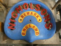 Nicholsons Newark Vintage Cast Iron Tractor Implement Seat Collectibles