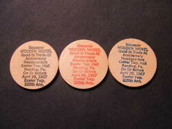 1967 Reading, Pennsylvania Wooden Nickel Tokens-3 225th Exeter Twp. Wood Coins