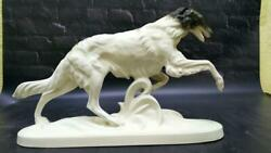 Vintage Porcelain Figurine Of Greyhound, With Marked Signed, Statue Special Rare