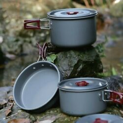 Outdoor Cooking Set 4-5 Persons Cookware Aluminum Alloy Camp Picnic Cutlery Pots