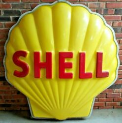Vintage Original Shell Oil Embossed 60 Plastic 3-dimensional Clam Shell Sign