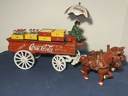 Vintage Cast Iron Coca Cola Horse Drawn Carriage With Umbrella, Cases And Bottles