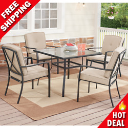 Outdoor Patio Dining Set 5-pc Beige 4 Soft Cushion Chair Table Garden Furniture
