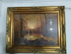 Vintage Picture In A Chic Frame Forest, With Signed, Special Rare, Free Shipping