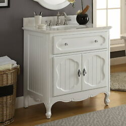 34 Benton Collection Knoxville White Shabby Chic Bathroom Sink Vanity Gd-1533wt