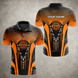 Customname Stihl Chainsaw Menand039s 3d All Over Printed Polo Shirt Hot Gift
