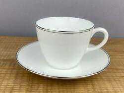 4 Wedgwood Doric White And Platinum Teacups With Saucers