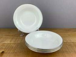 4 Wedgwood Doric White And Platinum Coupe Soup Bowls