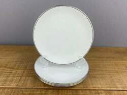 4 Wedgwood Doric White And Platinum Bread And Butter Plates