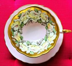 Paragon Lovely Rose Garland On Pink Teacup And Saucer Heavy Gold