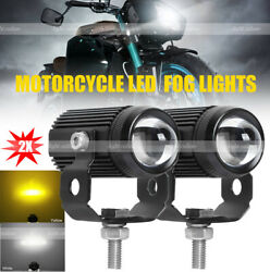Pair Motorcycle Led Driving Fog Lights 60w Amber And White For Jeep Trucks Atv