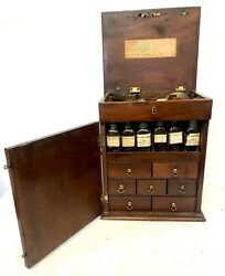 Antique Inlaid Mahogany Apothecary Chest Cabinet Complete With Bottles Etc