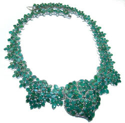 Green Queen Huge Authentic Emerald .925 Sterling Silver Handcrafted Necklace