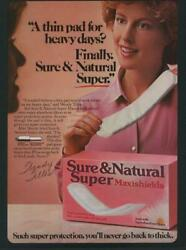 1984 Vintage Print Ad Page Sure And Natural Super Maxishields Pads Wendy Tilles