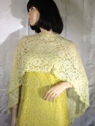Vintage 60s Yellow Lace Cape Blouse Top Prairie Boho Sheer One Size Groovy Party