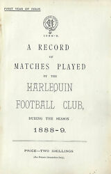 Harlequins - A Record Of Matches Played By The Harlequin Fc 1888-9 Rugby Book