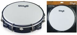 Stagg Tab-208p/bk Black 8-inch Tunable Plastic Tambourine With 2 Rows Of Jingles