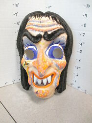 Halloween Mask 1970s Witch Psychedelic Vampire Monster Ghoul Zombie Fuzzy Hair